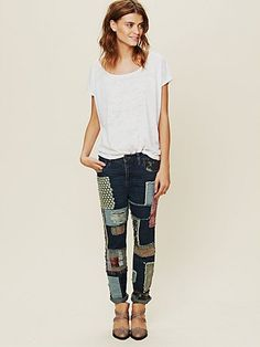 Patched Slim Slouch Jeans  http://www.freepeople.com/whats-new/patched-slim-slouch-jean/