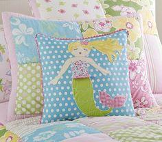 Mermaid Decorative Sham | Pottery Barn Kids--Love this mermaid pillow for Sylvia's bed.