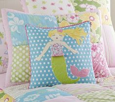 Mermaid Decorative Sham   Pottery Barn Kids--Love this mermaid pillow for Sylvia's bed.