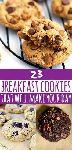 23 Ways To Eat Cookies For Breakfast - or these could also be great snacks and desserts.I see no problem eating these at any time of day :) Brunch Recipes, Breakfast Recipes, Dessert Recipes, Desserts, Healthy Breakfast Cookies, Breakfast Ideas, Healthy Cookies For Kids, Zucchini Breakfast, Breakfast Cookie Recipe