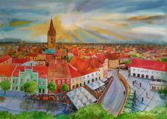 """Cluj 2""-Watercolor by Gabriela Calinoiu. Romanian painter.  www.picturipeisaje.wordpress.com"