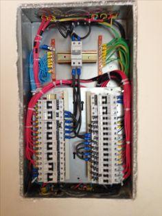 Caixa de distribuição elétrica pre montada (deixando espaço para alguns elementos de proteção que foram instalados posteriormente como DPS e DR).