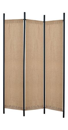 Partition off an extra nook with this help of this chic Alma Folding Screen. Sturdily anchored by matte black metal framing, this contemporary screen features three natural burlap-covered panels. This ... Find the Alma Folding Screen, as seen in the A Mid-Century Time Capsule in Oakland Collection at http://dotandbo.com/collections/a-mid-century-time-capsule-in-oakland?utm_source=pinterest&utm_medium=organic&db_sku=120665