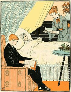 Walter Crane Illustration of My Mother Poem - Mother in Bed