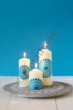 Vloeibare kaarsenwas en betonlook plateau