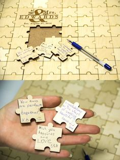 Wedding puzzle guest book Wooden puzzle by DecentCraft on Etsy