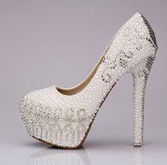 2014 CRYSTAL BRIDAL SHOES | 2014 White Pearl High Heel wedding shoes Rhinestone Crystal bridal ...