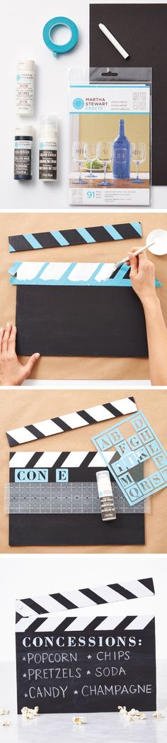 A great DIY for your next movie night or Oscars viewing party, impress your guests with this clapboard menu from #MarthaStewartCrafts!