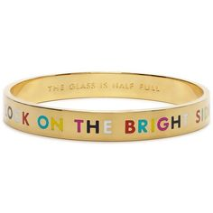 Kate Spade New York The Glass Is Half Full Idiom Bangle ($58) ❤ liked on Polyvore