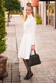 zara white turtleneck // white skater skirt // kate spade polka dot tights // kate spade black bag