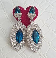 Fast Shipping using First Class Mail Most packages arrive in 2-5 business days!  Amazing sparkling Rhinestone Earrings  Perfect for formal occasions and holiday parties About 7.5cm long
