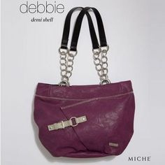 Debbie Miche Shell (Demi) - This is one hot shell that is a great change from red. It is a merlot colored shell with grey accented stitching and buckle. #artisthandbags