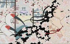 Country of Cherry Blossom (Sakura no Kuni), Yumiko Kayukawa Japanese Pop Art, Japanese Painting, Japanese Artists, Japanese Trends, Manga Eyes, Girly Pictures, Girly Pics, Ad Art, Beautiful Paintings