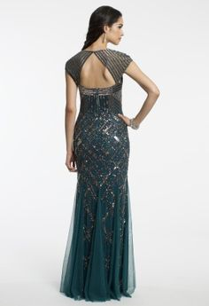 Long Sequin Mesh Dress with Godets from Camille La Vie and Group USA