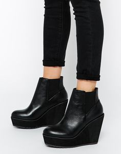 Shelly's London Campalto Leather Wedge Boots