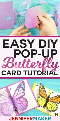 Easy DIY Pop-Up Butterfly Card Tutorial with free PDF pattern and SVG cut files for #Cricut #Silhouette #papercraft
