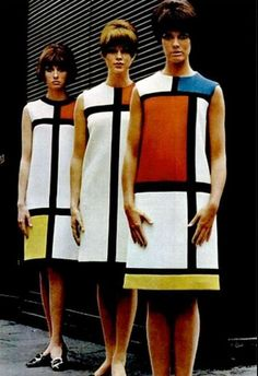 Mondrian dresses by Yves Saint Laurent, 1965 | Graphic color block dresses were another 60's trend that has been around on the fashion carousel a couple of times. Years later I found a pair of earrings with similar color blocking and made a dress to match.