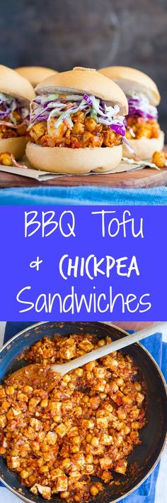 BBQ Tofu & Chickpea Sandwiches - These are a really delicious and flavorful vegetarian main dish that everyone will love!  Perfect for a cookout or an easy dinner!  Gluten free and vegan too! Tofu Recipes, Whole Food Recipes, Vegetarian Recipes, Cooking Recipes, Cooking Tips, Vegetarian Main Dishes, Vegan Dishes, Bbq Sandwich, Vegan Sandwiches