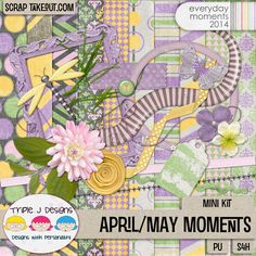 "Triple J Designs mini, ""April May Moments,"" coordinates with Everyday Moments April and May packs. Available at Scrap Take Out: http://scraptakeout.com/shoppe/April-May-Moments-Mini-Kit.html"