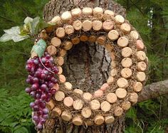 Wine Cork Wreath accented with red grapes and leaves