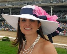 """The MOST popular hat for this year's Derby from HAT-A-TUDE.COM White 5"""" Brim/Navy/XL Pink Rose"""
