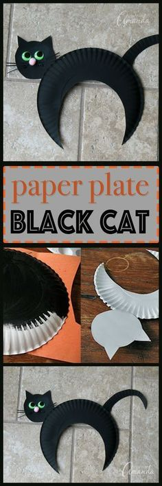 I created this paper plate black cat for kids because as far as Halloween charac. - I created this paper plate black cat for kids because as far as Halloween characters go, I think th - Kids Crafts, Daycare Crafts, Halloween Crafts For Kids, Halloween Activities, Toddler Crafts, Preschool Crafts, Holiday Crafts, Activities For Kids, Preschool Halloween