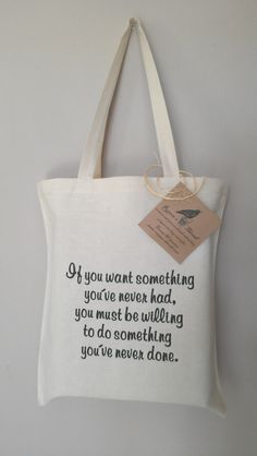 Quote Tote Bag Embroidery on eco friendly cotton by RavensThread, $25.00