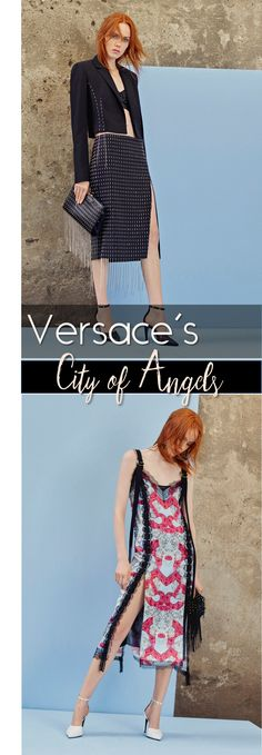 Designer style review: Versace's tour in the City of Angels | Pin stripe suiting and crazy cute prints on dresses and jackets | The Luxe Lookbook