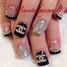 Diva Nails, Gem Nails, Chic Nails, Glitter Nails, Classy Nail Designs, Diy Nail Designs, Chanel Nails Design, Valentine Nail Art, Luxury Nails