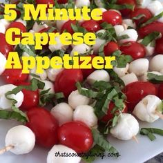 These are the perfect color for your holiday food spread! Easy 5 Minute Appetizer – Caprese Bites  http://thatscountryliving.com/2013/12/easy-5-minute-appetizer-caprese-bites/