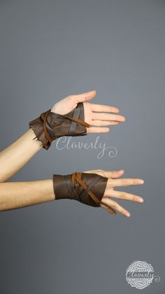 Ready to Ship Dark Brown Fingerless Leather Gloves Short /
