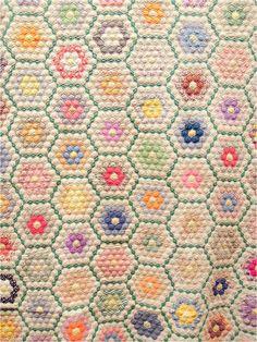 Quilt Inspiration: Grandmother's Flower Garden. Antique Diamond-Set Garden quilt exhibited by Beverly Hawkins, 2013 AZQG