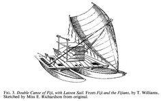 Fijian Waka. Sketched by Miss E Richardson from original.