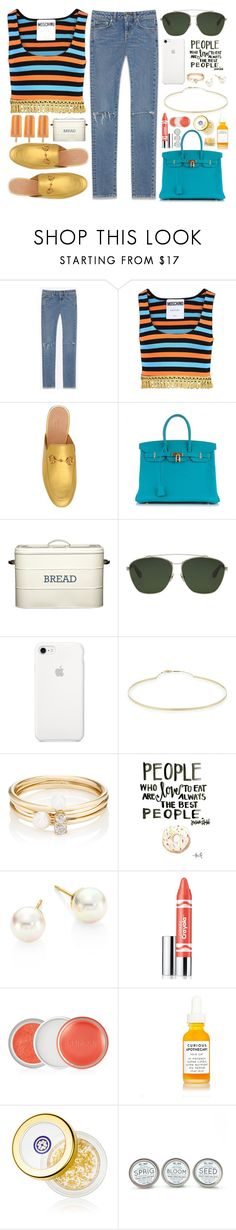 """Fresh"" by carolsposito ❤ liked on Polyvore featuring Yves Saint Laurent, Moschino, Gucci, Hermès, Givenchy, Lana, Loren Stewart, Majorica, Clinique and Tatcha"