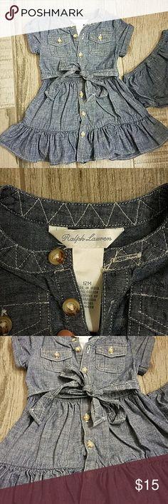 Ralph Lauren denim dress. Adorable Ralph Lauren denim dress with the cutest details. Ralph Lauren Dresses