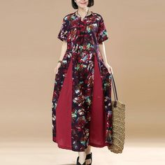Women Summer Literature Retro Frog Loose Short Sleeve Purple Dress
