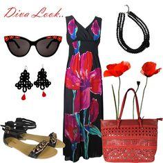 Long dress con stampa floreale, sandali gioiello, maxi borsa traforata.. un perfetto #LOOK DA #DIVA!