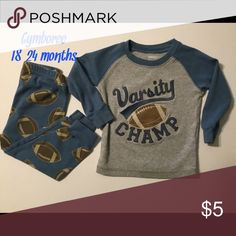 Boys toddler pajamas two piece 18/24 months sports These pj's are for baby boy 18-24 months.  They are free from any rips tears, or stains and comes from a smoke free home.  Don't forget to bundle and save.  Buy with confidence I am a top rated seller, mentor, and fast shipper.  Thank you. Gymboree Pajamas Pajama Sets