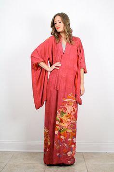 Vintage Kimono Jacket Pink Gold Floral Kimono Maxi Kimono Duster Jacket Draped Ethnic Boho S Small M Medium L Large Xl Extra Large Os by ShopTwitchVintage #vintage #etsy #kimono
