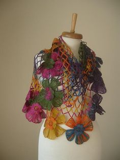 ON SALE Triangle Shawl By Crochetlab Multicolor  Big by crochetlab, $47.60