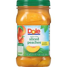 DOLE Sliced Yellow Cling Peaches in Fruit Juice, Ounce Jar - Cat store galore Yummy Snacks, Healthy Snacks, Sea Clams, Peach Juice, Chipotle Pepper, Frozen Fruit, Fruit Juice, American, Gourmet Recipes