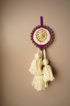Woven Wall Hanging / Talisman Weaving / Boho Home Decor / Tassel Tapestry / Modern Textile / Bohemian Amulet / Mandala Wall Art Citrine Gem