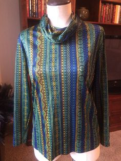 Silky Print Cowl Neck Blouse/Top by PDeeVintage on Etsy