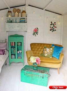 Summer House Ideas to Spruce Up Your Garden Amazing Pops of mustard and green. Also can we have that couch! The decoration of home is much like an exhibition space . Playhouse Decor, Playhouse Interior, Room Interior, She Shed Interior Ideas, Beach Hut Interior, She Shed Decorating Ideas, Small Summer House, Summer House Garden, Summer Houses
