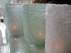 Winter Wedding Decor:  These pretty sparkly luminaries are created using just mason jars and Epsom Salts, you can find the tutorial over on:  http://craftsbyamanda.com/2010/12/epsom-salt-luminaries-some-winter.html