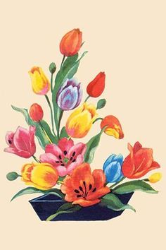 A floral arrangement centered around tulips. In the 1930's the classic homemaker could purchase decals, applied by water, to decorate the kitchen, furniture, or anything else they desired. These are s