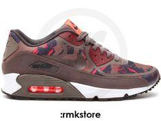 super popular 42918 590a1 Nike Air Max 90 PRM Tape Camo Pack Petra Brown Atomic Red (599249-226)