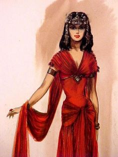 "Original Hollywood costume design sketch ""Julius Caesar"" Design by Herschel (McVoy), artist Marilyn Sotto. Julius Caesar 1953, Stage Beauty, Costume Design Sketch, Egyptian Beauty, Cleopatra Costume, Hollywood Costume, Illustration Mode, Theatre Costumes, Glamour"