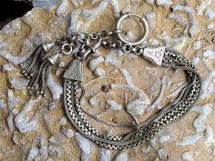 Victorian Era Albert Watch Chain, Fancy Swag Style with 5 Chains at Center, Tassels, Large Round Ring, Dog Lead Clip, Signed Garantie, Nice by postGingerbread on Etsy