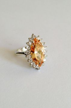 Vintage Sterling Silver Morganite Peach Sapphire Marquise Estate Jewelry Ring by WOWTHATSBEAUTIFUL